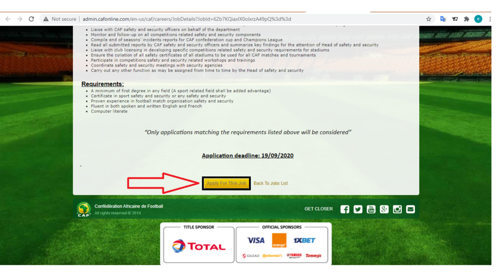 CAF job application page