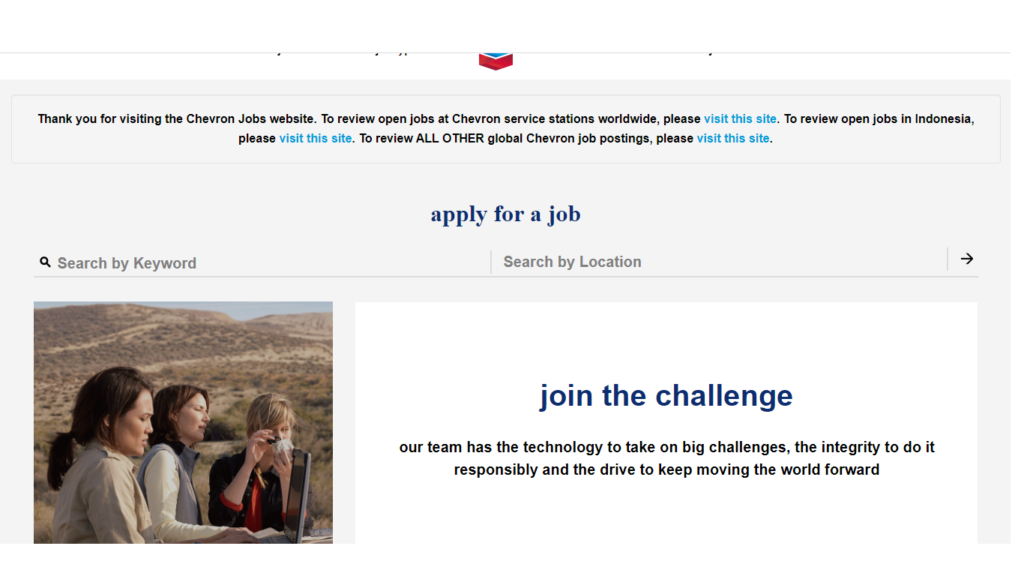 Chevron recruitment Portal page