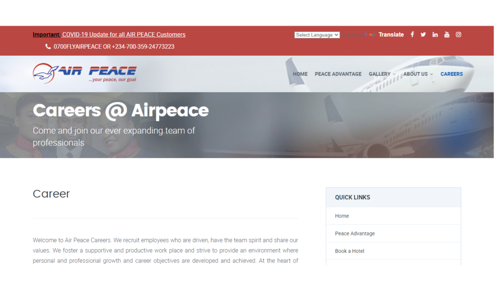 Air Peace Recruitment Form Portal